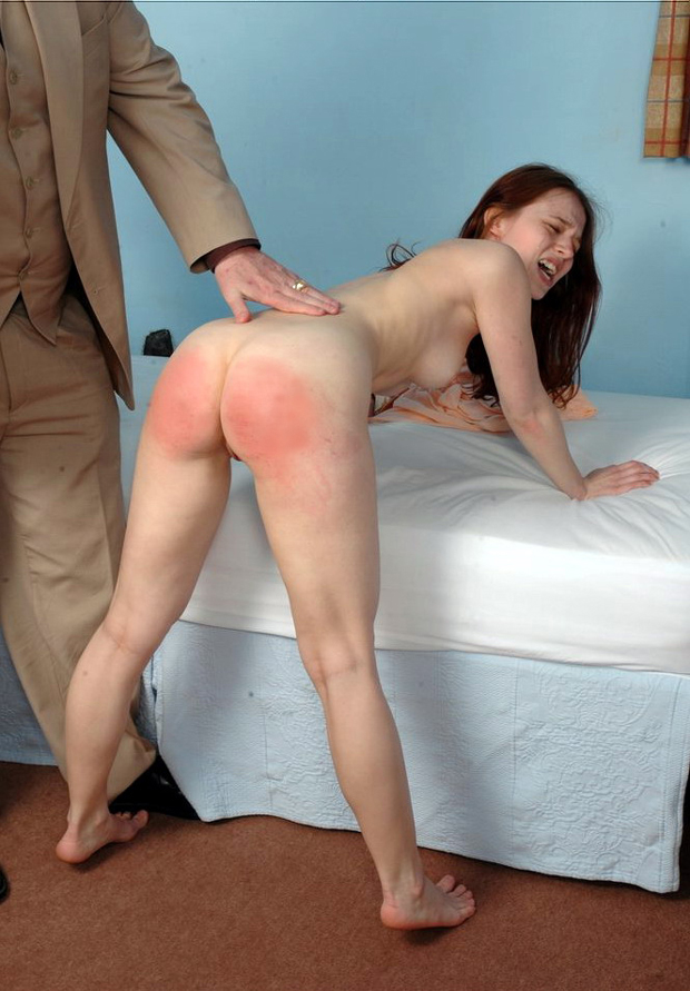 Had to remain nude after spanking
